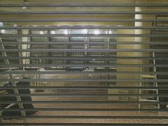 Turnover (Eva the Weaver) Tags: shop grid closed blind stripes refurbishing frlundatorg noncoloursincolour