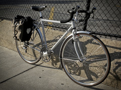 Surly Cross Check with Ortleib Pannier (Terri Sterling) Tags: road chicago bike bicycle june paul bicycling cycling illinois wheels bikes fork ps uptown rack frame coolpix surly gears sti touring ultegra brooks fsa geared nitto shimano pannier honjo crosscheck dropbars 2011 tubus 52cm ortleib s630 brifters vxla 2010s rollerplus