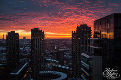 Barbican Sunset (Umbreen Hafeez) Tags: city uk light sunset england building london tower buildings dark europe cityscape barbican gb architcture bt