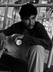 One too many ! (Neil. Moralee) Tags: street portrait blackandwhite bw white toronto canada man black cup coffee monochrome drunk sitting candid hard dirty beggar drunken begging drunkard tramp harsh neilmoraleenikon
