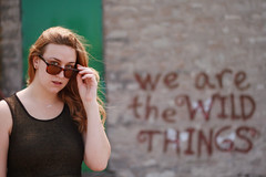 We are the wild things (Vanessa Vokey) Tags: old building girl sunglasses fashion yellow stairs rebel graffiti rust quote decay urbandecay grunge steps rusty style tortoiseshell attitude faded ladder golddress sunnies eyewear combatboots rebellious sparypaint goyourownway softgrunge wearethewildthings