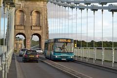 Buses and bridges: Arriva DAF on Menai Bridge (aecbus) Tags: buses bridges cx07crj