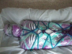 Cat's Kinky Toy- 3 (AgentDrow) Tags: mermaid zentai mummification encasement spandex