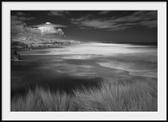grass, ocean and cloud (Andrew C Wallace) Tags: ir infrared olympusomdem5 longexposure nd400 spraypoint blairgowrie morningtonpeninsula victoria australia coast ocean bw blackandwhite microfourthirds m43 slowwater verylongexposure stackedndfilters 30seconds