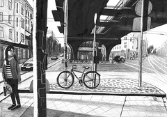 Unter der Hochbahn, 42x29.7 cm, indian ink, pencil and chalk on paper, 2016 (suzy_yes) Tags: mariazaikina berlin drawing indianink citylandscape hochbahn eberswalderstrasse pencil chalk