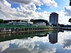 Early morning walk (Indraven84) Tags: reflection waterfront water mirror awesome peltoncanal sky clearskies canal morning beautiful iphone6plus scenery view singapore singapura