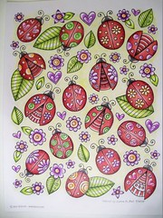 Ladybugs (Lynne M. B.) Tags: coloringadults coloring coloringbook coloredpencils drawing art illustration prismacolor jessvolinski supercutecoloringbook ladybugs