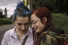 Juliana and Em (lordgogurt) Tags: people person face portrait figure being body life girl girls female females lady ladies women woman couple hair color dye light lighting seasons summer blue red road portland smile happy expression emotion glasses