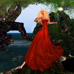 Still Red . . . Little, not so much (KymSara) Tags: fashion blog blonde blogged gown damselfly strapless reddress laq wtg redgown posesion kymsara lumipro trasognoerealta desirhautecouture