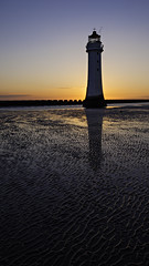 lighthouse sunset 2 (DSLR Lee) Tags: sunset sea sky sun lighthouse seascape beach water rock liverpool twilight sand rocks northwest dusk wirral newbrighton merseyside northengland thewirral perchrock
