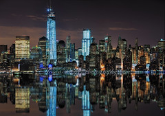 Lower Manhattan Pano (Jason Pierce Photography) Tags: new city nyc wallpaper panorama newyork reflection water skyline clouds buildings river poster still photos manhattan pano worldtradecenter images best canvas metropolis atnight picturesof mostexpensive jasonpierce 1wtc jasonpiercephotography