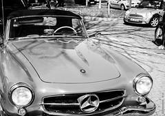 BMW Mini meets MB 190 SL (KLAVIeNERI) Tags: blackwhite photographer streetshots mini mercedesbenz dusseldorf roadster bmwmini 190sl bwconverted mingthein leicaforum thorstenovergaard stevehuff leicax1 leicaimages lightroom4 ilovemyleica photographersontumblr