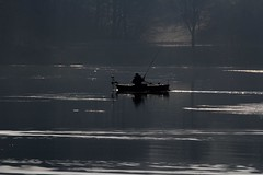 Early morning fishing (rolfspicture) Tags: light sun lake water fog fisherman mood fishingboat sauerland hennesee