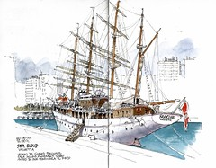 Sea Cloud, Valletta (Luis_Ruiz) Tags: sea cloud port de puerto harbor boat sketch dock spain barco sailing ship harbour drawing vessel sketchbook sail andalusia dibujo malaga valletta