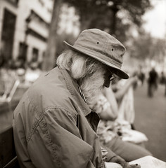 reader (wang-lu) Tags: barcelona street urban bw espaa film vintage photography calle spain y bcn protest streetphotography urbano process camara antiguo carrete analogica barna analogico blanco negro