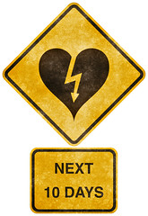 Crossing Road Grunge Sign - Heart-Stricken (Free Grunge Textures - www.freestock.ca) Tags: road street old white black texture love broken up silhouette sign yellow danger