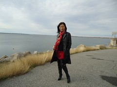Lake side (Foxywalk) Tags: portrait black leather lady asian boots chinese mini skirt heel  patent thighhigh overtheknee