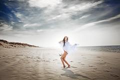The Seagull (Yuliya Bahr) Tags: blue light shadow sea sky woman sun white seascape beach girl beautiful beauty fashion clouds hair nude coast model sand akt wind dunes longhair