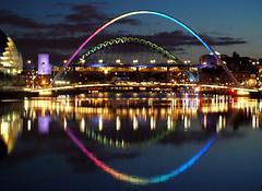 Newcastle Gateshead Rainbow 'Eye' (Gilli8888) Tags: night reflections river newcastle rainbow bridges tyne millenniumbridge gateshead quayside rivertyne