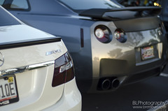 E63 AMG and Nissan GTR Rear End (Brett Levin Photography) Tags: show white car university nissan florida south towers gray r gt davie amg gtr e63 595 sfla