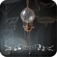 / Pendent Travel on hot air (nilaxa) Tags: travel chains weeds handmade air balloon covered copper ropes pendent julesverne garnet jeweler romanticism flewdown