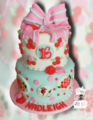 Shabby Chic Vintage 16th birthday (FaithfullyCakes) Tags: birthday roses cakes colors cake vintage pittsburgh hand dress painted polka bow chic dots 16th rosettes muted fondant shabby faithfully sixteenth
