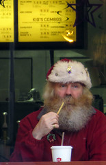 Santa (danieljsf) Tags: santa eating fastfood frenchfries jackinthebox santaclaus kriskringle