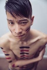 Chromatherapy #6 (Sckolo) Tags: pink boy man color guy colors naked nude asian skinny paint purple skin stripes chest bodypainting asianboy halfnaked asianman skinnyboy 5dmarkiii