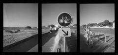 La tranche Sur Mer - July 2015 (Andrew Bartram (WarboysSnapper)) Tags: halfframe penee pointandshoot olympus 35mm kentmere400 id1111 france latranchesurmer vendee triptych bicycle seaside believeinfilm