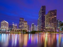 From Brickell Island (karinavera) Tags: city longexposure travel blue urban building night cityscape view miami financial brickell nikond5300