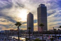 Port Olmpic, Barcelona (ancoay) Tags: barcelona portolimpic catalonia catalunya canon600d ancoay sunset sky boat torremaphre 7dwf hotelarts