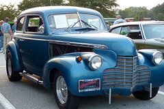 Blue Chevrolet (FagerstromFotos) Tags: auto automobile car classic chevrolet cruisein carshow headlights grill blue chrome 1940