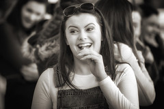 Lollipops and a smile (Frank Fullard) Tags: frankfullard fullard lollipop smile beauty beautiful lady candid street portrait castlebar mayo irish ireland dungarees bokeh