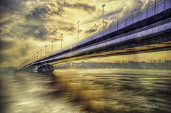 Vienna (Haideri Photography) Tags: bridge brcke hdr austria sterreich color cloud cityscape city colorful creative donauinsel donau europe evening effect golden hour wien vienna sky longexposure lights moody smooth donaumarina photography reflection river sunset water warm wallpaper yellow