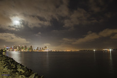 San Diego at night (ryanDAR) Tags: skyline harborisland sandiego night fullmoon