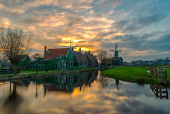 Dutch Sunset (angheloflores) Tags: zaanseschans countryside dutch sunset clouds sky colors landscape village netherlands
