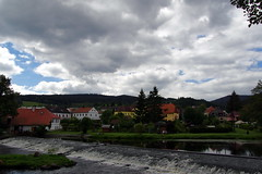 23.8.16 Vyssi Brod Weir 224 (donald judge) Tags: czech republic south bohemia vyssi brod weir boats rafts canoes river vltava