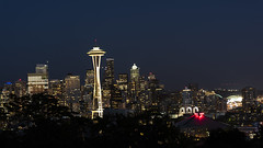 Seattle - Night Skyline ***Explored 9/21/16*** (NikonD3xuser1(Thanks for 1.6 million visits)) Tags: usa washington seattle night city dark evening buildings spaceneedle nikon d810