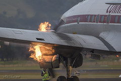 Connie Startup (Col Turner) Tags: hars historical aircraft restoration wings over illawarra woi 2016 airport aviation avgeek ywol lockheed connie constellation vheag flames startup