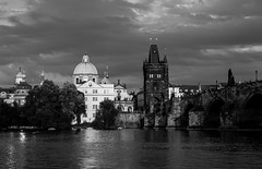 Old Town Prague at Sunset (romanboed) Tags: bw black white monochroome leica m 240 summilux 50 czech europe cesko czechia prague panorama clouds evening spires praha prag praag praga old town stare mesto charles bridge karluv most vltava reka river moldau summer afternoon glow city cityscape architecture travel tourism