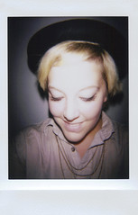 day 098 (H o l l y.) Tags: lomography analog instant film fuji instax self portrait hat vignette flash happy smile girl summer fashion retro indie vintage