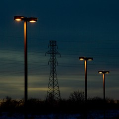 Light poles - IMG_4847 (T. Brian Hager) Tags: canon eos 7d canoneos7d dusk lights lightpoles electricaltower sky wires square poles
