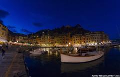 Blue hour at Portofino (Matteo Nebiacolombo) Tags: portofino mare sea borgo porto porticciolo liguria turismo riviera rivieraligure ligure costa golfo golfodeltigullio notte giorno tramonto fisheye samyang