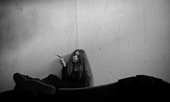 Doupě (dmikulasova) Tags: htc phone mobile photography myself me selfportrait girl lady woman cigarette holder smoking blackandwhite dark grunge melancholy simple grain
