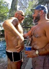 IMG_7890 (danimaniacs) Tags: party swimmingpool shirtless man guy sexy hot bear beard scruff hat cap smile back bare hairy swimsuit trunks bald