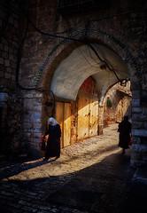 Troubled Souls 2 (singulartalent) Tags: jerusalem israel arab jew archway street sunrise