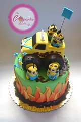 Monster trucking Minions (The Cupcake Factory Barbados) Tags: monster truck minions cake flames yellow birthday boy mud chocolate
