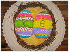 the chicks have been working overtime (colorfulexpressions) Tags: easter 6ws embroidery sixwordstory fabric quilting eggs quotation lrp colorfulexpressions jamesmatthewbarrie