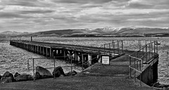 Pier near Newark Castle (hrd260) Tags: sky water monochrome rock clouds contrast canon river eos scotland riverclyde clyde pier scenery rocks hills 5d newark keepoff mkiii portglasgow inverclyde canoneos5dmarkiii canoneos5dmkiii