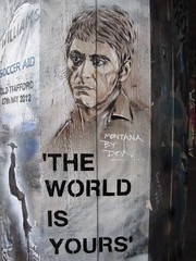 'The world is yours' stencil by Don (duncan) Tags: streetart stencils london graffiti stencil southbank don scarface alpacino tonymontana pauldonsmith